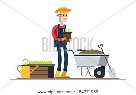 Vector flat illustration of gardener characters. Elderly man holding flower pot and wheelbarrow of earth. Hobby of the elderly people