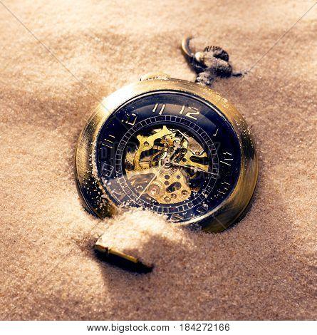 Pocket Watch In Beach Sand