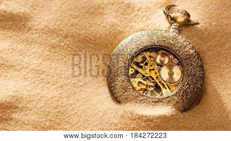 Clockwork Inside Mechanism In Sand