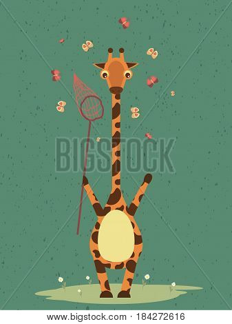 Cute giraffe with ringnet  vector drawing. Pretty giraffe illustration with butterflies on the background. For postcards, birthday cards, backgrounds and etc.