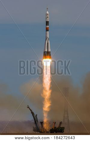 Baikonur, Kazakhstan - April 20, 2017: Launch of the spaceship