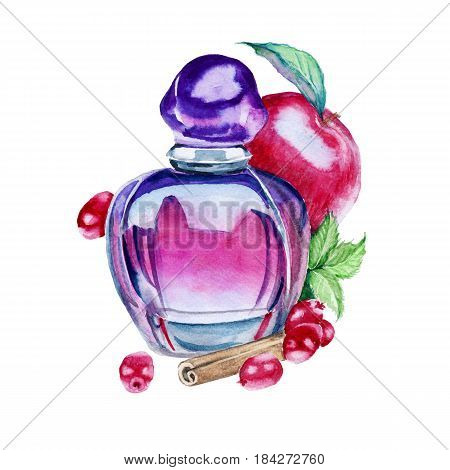 Perfume for women. The aroma of a red apple, carica, cowberries and mint. Isolated on white background. Watercolor illustration