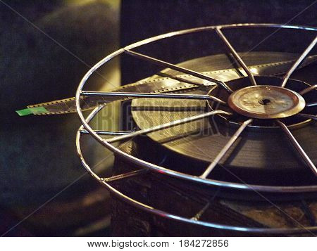 Movie film reel roll on wooden box case
