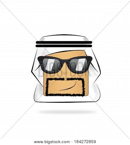 sunglasses Arab Man Cartoon Emotion Face. funny emoticon