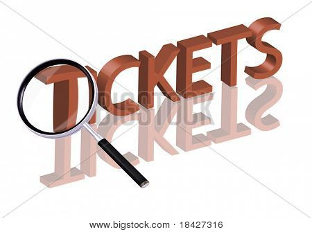 Magnifying glass enlarging part of red 3D word with reflection tickets button tickets icon online tickets buy tickets