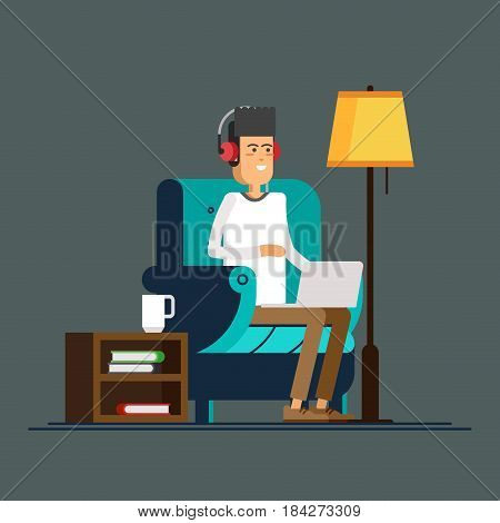 Young adult man working at home vector concept illustration. Freelancer character working from home with laptop sitting in cozy armchair with a cup of hot tea or coffee. Home office. Remote work