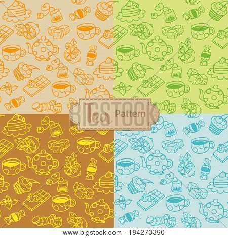 Tea seamless pattern. Cartoon vector illustration with teapot, cups, sweets, mint, teabags