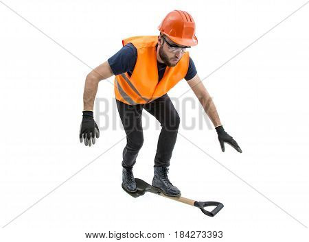 Funny image of worker man with big head on white background