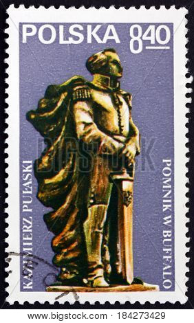 POLAND - CIRCA 1979: a stamp printed in Poland shows Pulaski Monument Buffalo General Casimir Pulaski Polish Nobleman who Served in American Revolutionary War circa 1979