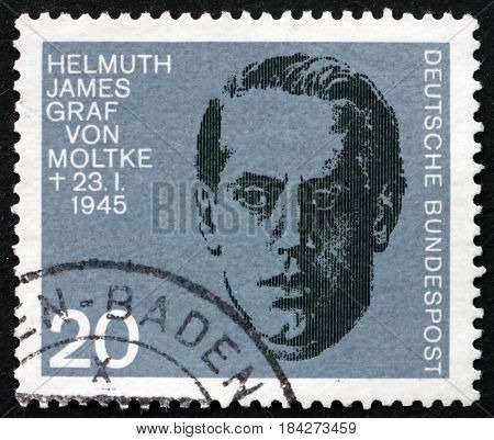 GERMANY - CIRCA 1964: a stamp printed in Germany shows Count James von Moltke 20th Anniversary of Assassination Attempt on Adolf Hitler circa 1964