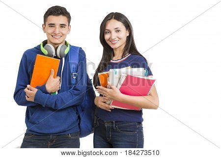 High school students interacting after class on white background
