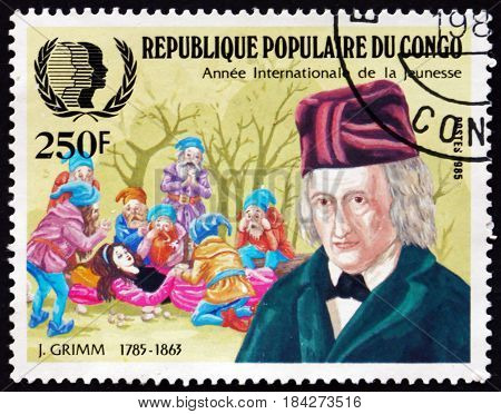 CONGO - CIRCA 1985: a stamp printed in Congo shows Jacob Grimm German Philologist Jurist and Fabulist Sleeping Beauty circa 1985