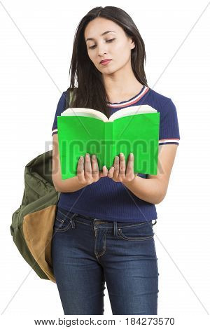 Beautiful smiling young woman with books and backpack on white background