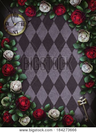 Alice in Wonderland. Red  roses and white roses on  chess background. Clock and key. Wonderland background. Rose flower frame. 3D Illustration