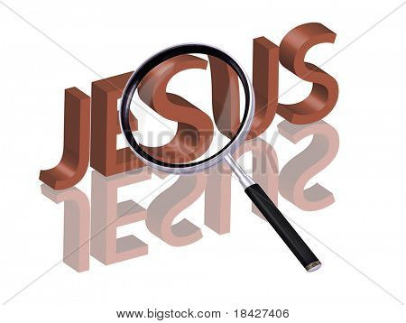 jesus icon jesus button find jesus search jesus salvation belief christ Magnifying glass enlarging part of red 3D word with reflection
