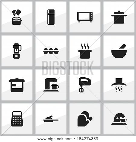 Set Of 16 Editable Meal Icons. Includes Symbols Such As Agitator, Utensil, Cookware And More. Can Be Used For Web, Mobile, UI And Infographic Design.