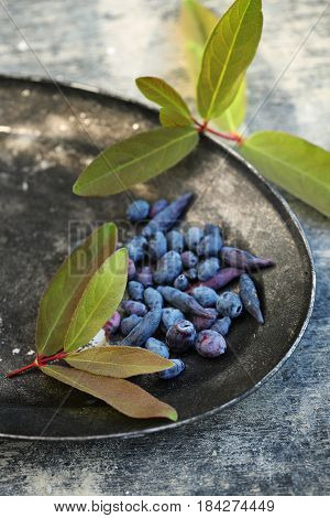 Blue berries of honeysuckle in a Metal bowl