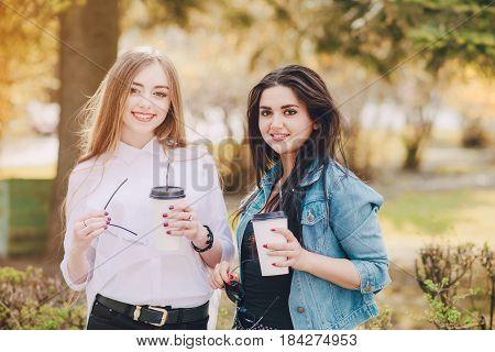 Girls walking around the city and make selfie