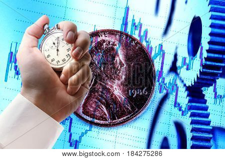 Mechanical Ratchets, Coin And Stopwatch In Hand