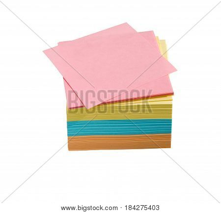 Colorful blank sticky notes isolated on white. Memo stick or post note