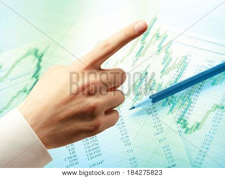 Candlestick Graph Chart, Hand And Compass