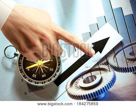 Compass, Diagram, Cogwheels And Hand