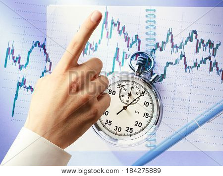 Candlestick Graph Chart, Hand And Stopwatch