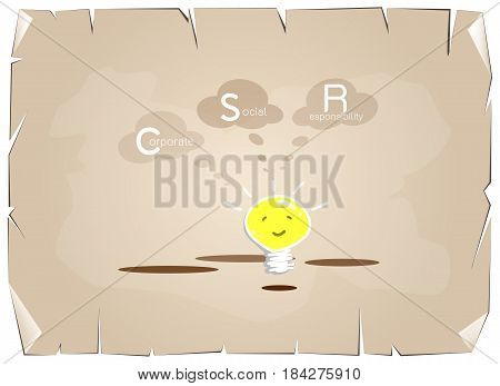 Business Concepts Cartoon of Glowing Yellow Electric Light Bulb Smiling As Inspiration Concept with CSR Abbreviation or Corporate Social Responsibility on Old Antique Vintage Grunge Paper Background.