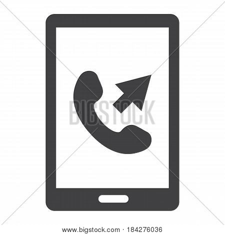 Outgoing call solid icon, Contact us and website button, vector graphics, a filled pattern on a white background, eps 10.