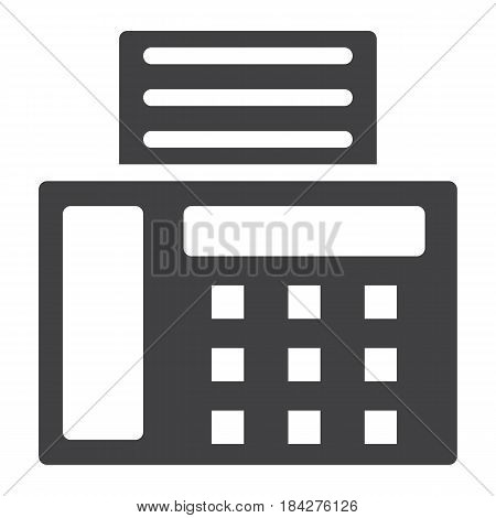 Fax solid icon, Contact us and website button, vector graphics, a filled pattern on a white background, eps 10.