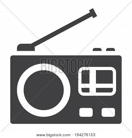 Radio solid icon, communication and website button, vector graphics, a filled pattern on a white background, eps 10.