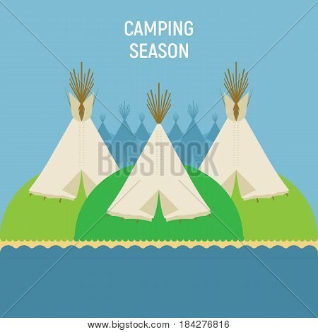 Tourist Indian tents for outdoor recreation. A place for tipi tents on green hills near river. Vector illustration is suitable for decorating camping