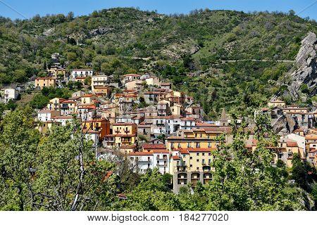 Castelmezzano Basilicata Italy - view of the village in the lucania dolomites mountains