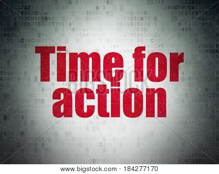 Time concept: Painted red word Time for Action on Digital Data Paper background