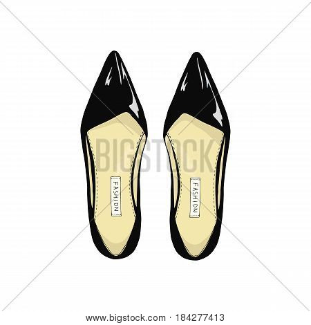 Womens black shoes with pointed toe on a white background.