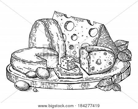 Plate of cheese engraving vector illustration. Scratch board style imitation. Hand drawn image.