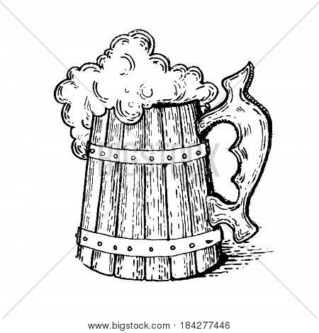 Beer mug engraving vector illustration. Scratch board style imitation. Hand drawn image.