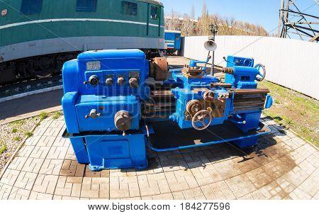 Samara Russia - April 30 2017: An obsolete rusted lathe machine. Fisheye view
