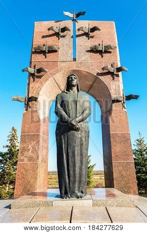 Samara Russia - April 30 2017: Monument to the family of Volodichkiny at the memorial complex in Alekseevka. Monument was unveiled on May 1995 height - 11.5 m
