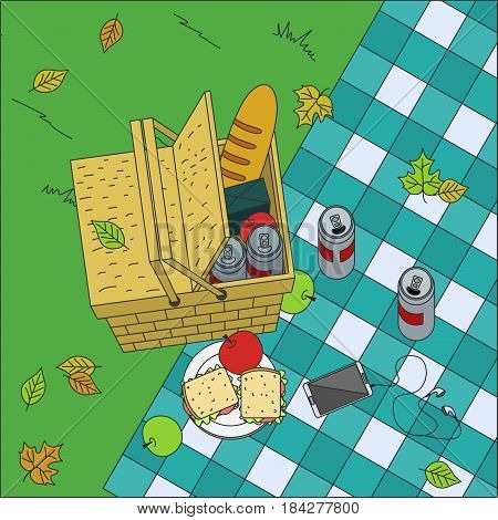 Picnic basket on grass and sandwiches on plaid blanket. Vector illustration