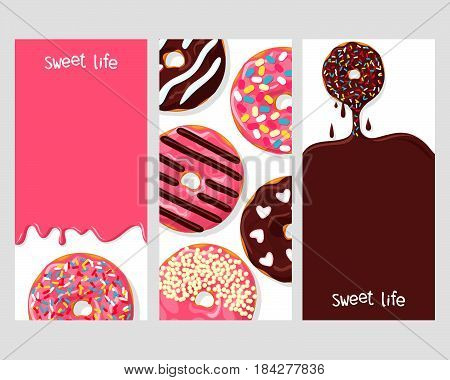 A set of three posters of donuts: chocolate donut dripping with glaze, donuts with different toppings, and icing flowing down on pink donut