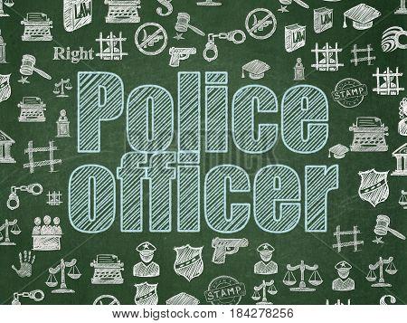 Law concept: Chalk Blue text Police Officer on School board background with  Hand Drawn Law Icons, School Board