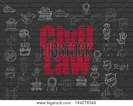 Law concept: Painted red text Civil Law on Black Brick wall background with Scheme Of Hand Drawn Law Icons