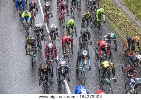 Racing Cyclists At The Race Rund Um Den Finanzplatz Frankfurt