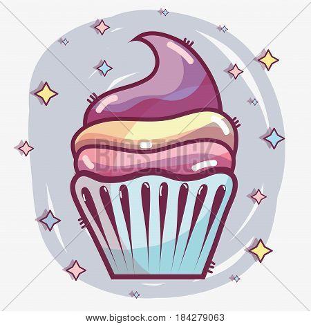 delicious cupcake to happy birthday celebration, vector illustration