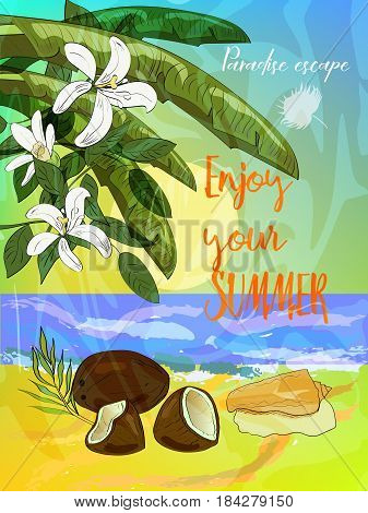 Tropical summer poster. Ocean beach with tropical leaves, coconut and seashell. Vector illustration.