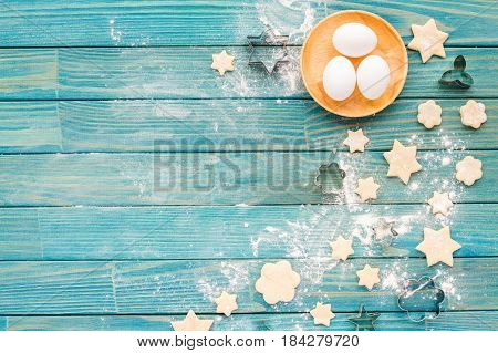 Preparation For Cooking Tasty Cookie. Baking Ingredients On Turquoise Wooden Kitchen Background. Top