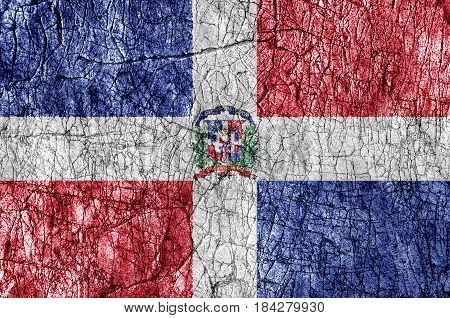 Grudge stone painted Dominican Republic flag close