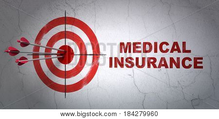 Success Insurance concept: arrows hitting the center of target, Red Medical Insurance on wall background, 3D rendering
