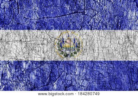 Grudge stone painted El Salvador flag close